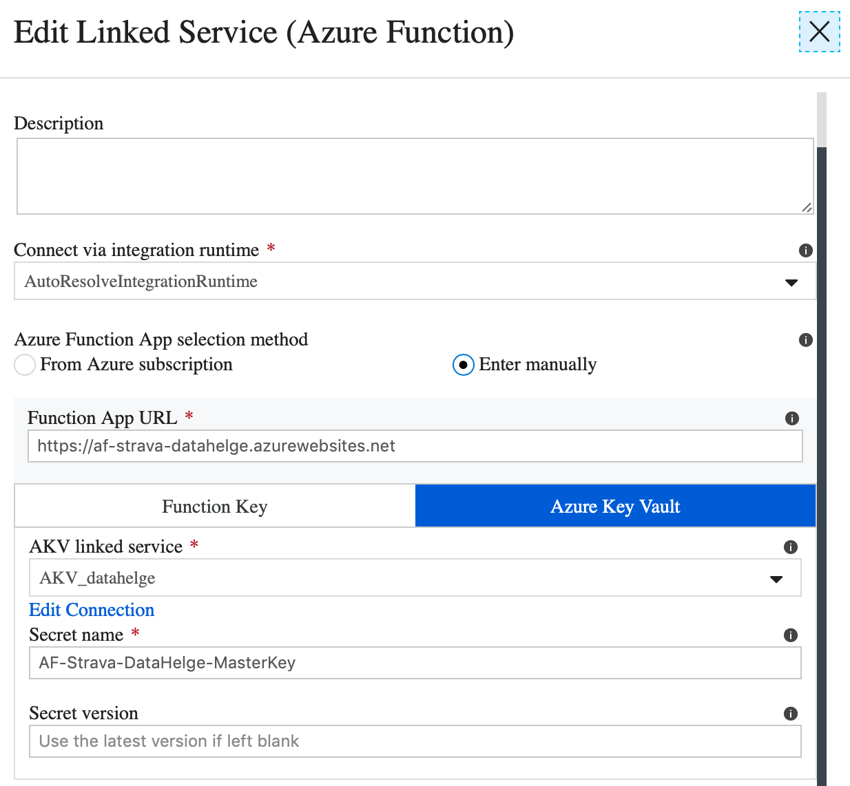 Calling Azure Functions from Data Factory with